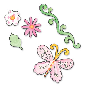 Sizzix Sizzlits Die Set 3PK - Butterfly & Flowers Set (Small)