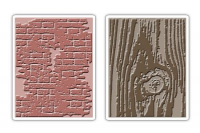 Sizzix Texture Fades Embossing Folders 2PK - Bricked & Woodgrain Set by Tim Holtz