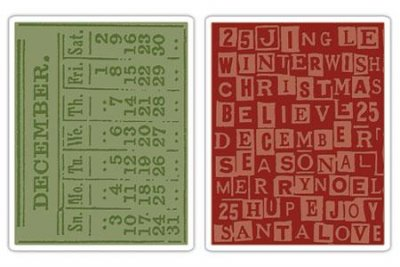 Sizzix Texture Fades Embossing Folders 2PK - December Calendar & Holiday Words by Tim Holtz