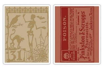 Sizzix Texture Fades Embossing Folders 2PK - Halloween Night & Poison by Tim Holtz