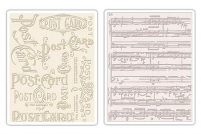 Sizzix Texture Fades Embossing Folders 2PK - Postcard & Sheet Music by Tim Holtz