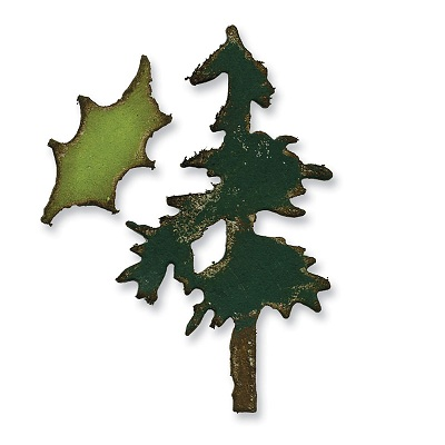 Sizzix Movers & Shapers Die - Mini Pine Tree & Holly Set by Tim Holtz