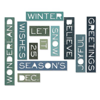 Sizzix Thinlits Die Set - Holiday Words Thin by Tim Holtz