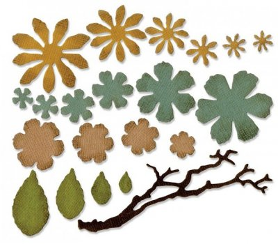 Sizzix Thinlits Die Set - Small Tattered Florals by Tim Holtz (21 dies)