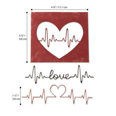 Sizzix Thinlits Die Set - Heartbeat by Tim Holtz (3 dies)