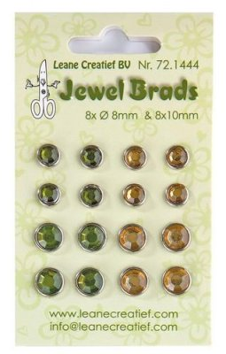 Lecrea Jewel Brads - Moss Green & Light Gold