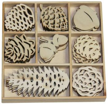 CraftEmotions Wooden Ornament Box - Winter Woods Pine Cones