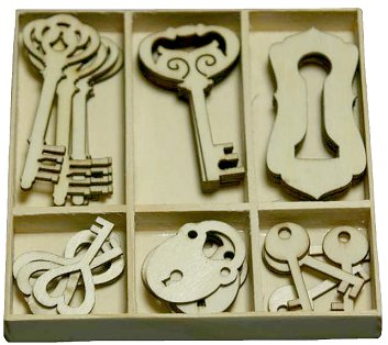 CraftEmotions Wooden Ornament Box - Key and Lock