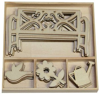 CraftEmotions Wooden Ornament Box - Garden Bench and Flowers