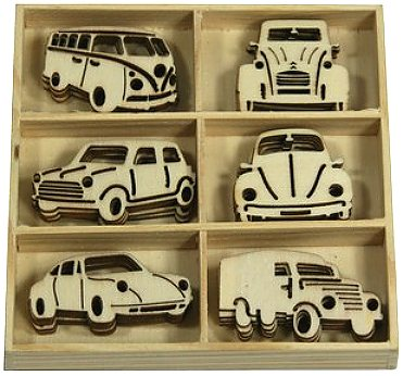 CraftEmotions Wooden Ornament Box - Classic Cars