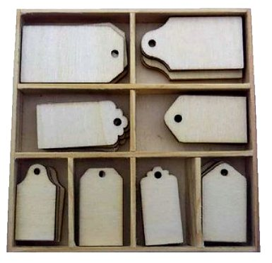 CraftEmotions Wooden Ornament Box - Labels