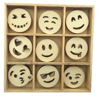 CraftEmotions Wooden Ornament Box - Emoticons