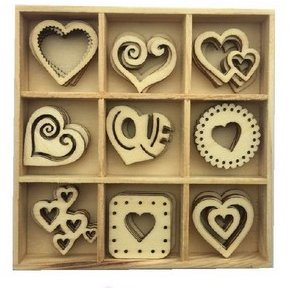 CraftEmotions Wooden Ornament Box - Hearts