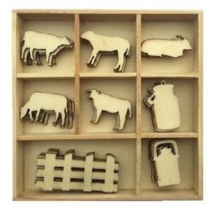 CraftEmotions Wooden Ornament Box - Cow