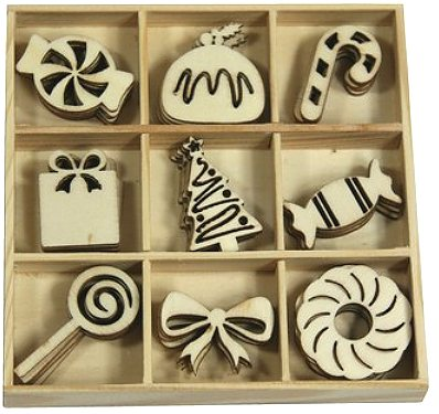 CraftEmotions Wooden Ornament Box - Sweet Vintage Christmas Sweets