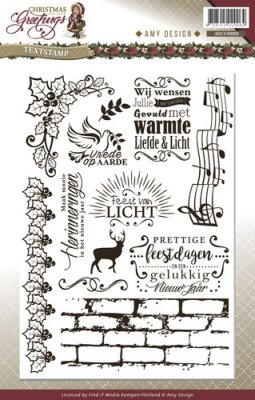 Amy Design Clear Stamp Set - Christmas Greetings Text (12 stamps)