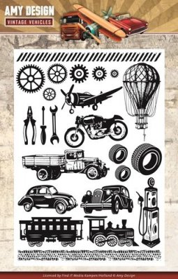 Amy Design Clear Stamp Set - Vintage Vehicles