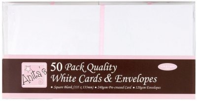 Docrafts Square Cards-Envelopes - White (50 pack)