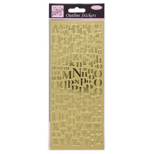 OUTLINE STICKER - MIXED SERIF ALPHABETS (SINGLE) GOLD