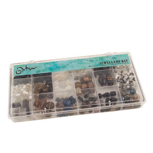 GLASS JEWELLERY BEAD SET 18 CAVITY- ONYX
