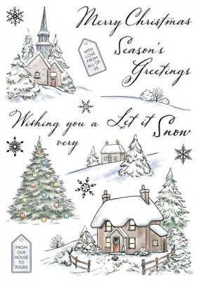 Wild Rose Studio A5 Clear Stamp Set - Winter Cottages
