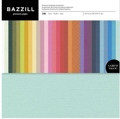 "Bazzil Premium 12""x12"" Cardstock Value Pack - Assorted Colors (100 sheets)"