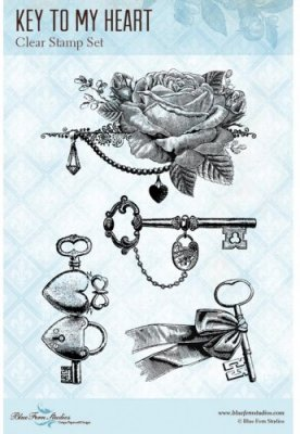 Blue Fern Studios Clear Stamp Set - Key To My Heart