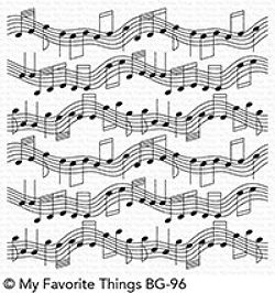 My Favorite Things - Musical Notes 6x6 Cling Rubber Background Stamp