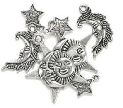 Blue Moon Silver Plated Metal Charms - Celestial (7 pack)