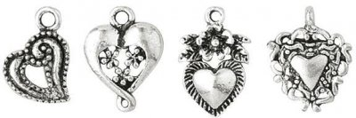 Blue Moon Silver Plated Metal Charms - Heart Assortment (10 pack)