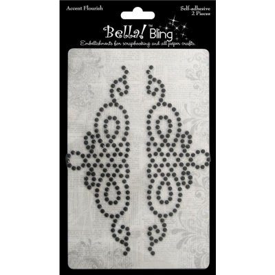 Bella Bling Self-Adhesive Accent Flourish - Black (2 pack)
