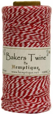 Hemptique Cotton Baker's Twine Spool - Red/White (2-Ply)