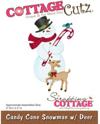 CottageCutz Dies - Candy Cane Snowman with Deer