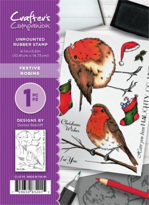 Crafters Companion A6 Unmounted Rubber Stamp Set - Festive Robins