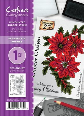 Crafters Companion A6 Unmounted Rubber Stamp Set - Poinsettia Wishes