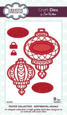 Creative Expressions Dies by Sue Wilson - Festive Collection Sentimental Bauble (9 dies)