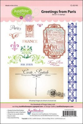 Justrite Cling Stamp Set - Greetings from Paris (13 stamps)