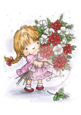 Wild Rose Studio Clear Stamps - Girl with Xmas Bouquet