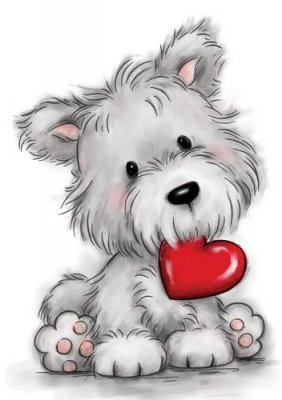 Wild Rose Studio Clear Stamp - Dog with Heart