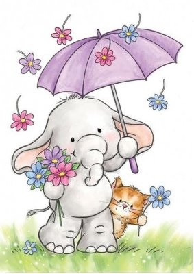 Wild Rose Studio Clear Stamp - Bella with Umbrella