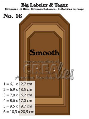 Crealies Big Labelzz & Tagzz dies no. 16 smooth (6 dies)