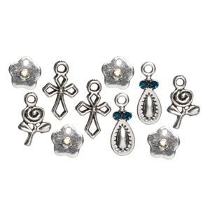 TRINKETTES - 12PC METAL CHARMS ROSE/CROSS