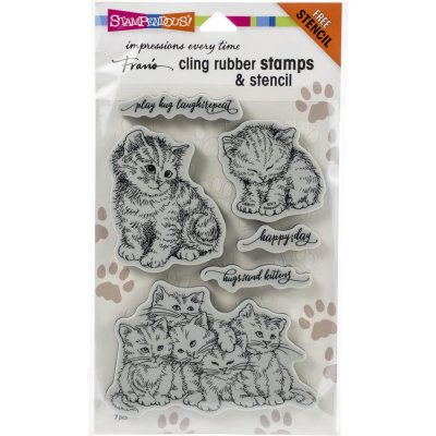 Stampendous Cling Stamps & Stencil Set - Kitten Hugs