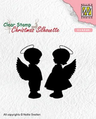 Nellies Choice Clear Stamps - Christmas Silhouette Angel Girl & Boy
