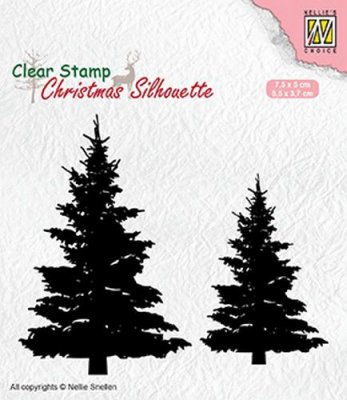 Nellies Choice Clear Stamps - Christmas Silhouette Fir Trees