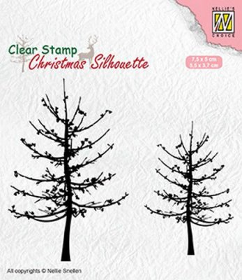 Nellies Choice Clear Stamps - Christmas Silhouette Leafless Trees