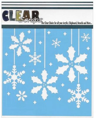 "Clear Scraps 6""x6"" Stencils - Holly Xmas Bulbs"