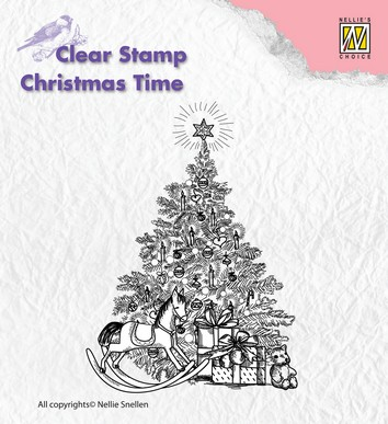 Nellies Choice Clearstamp - Christmas Time Tree with Gifts