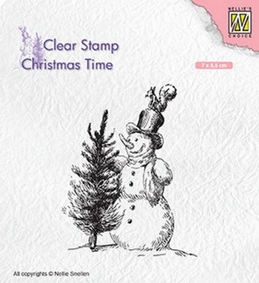 Nellies Choice Clear Stamps - Christmas Time Snowman with Tree