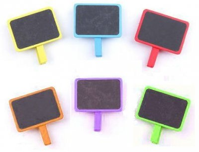 Deco Accessories Mini Blackboards with Clothes Peg (6 pack)